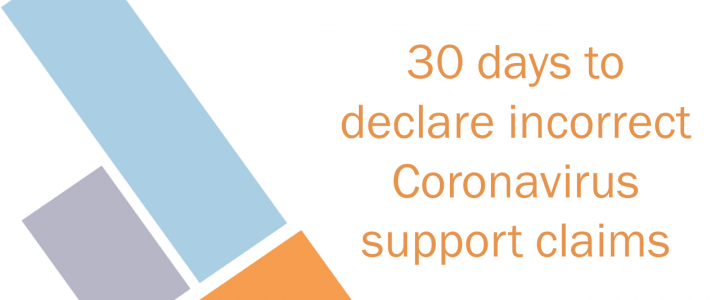 30 days to declare erroneous Coronavirus support claims