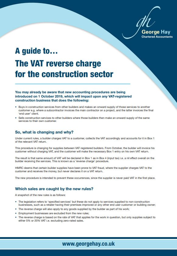 VAT reverse charge for construction